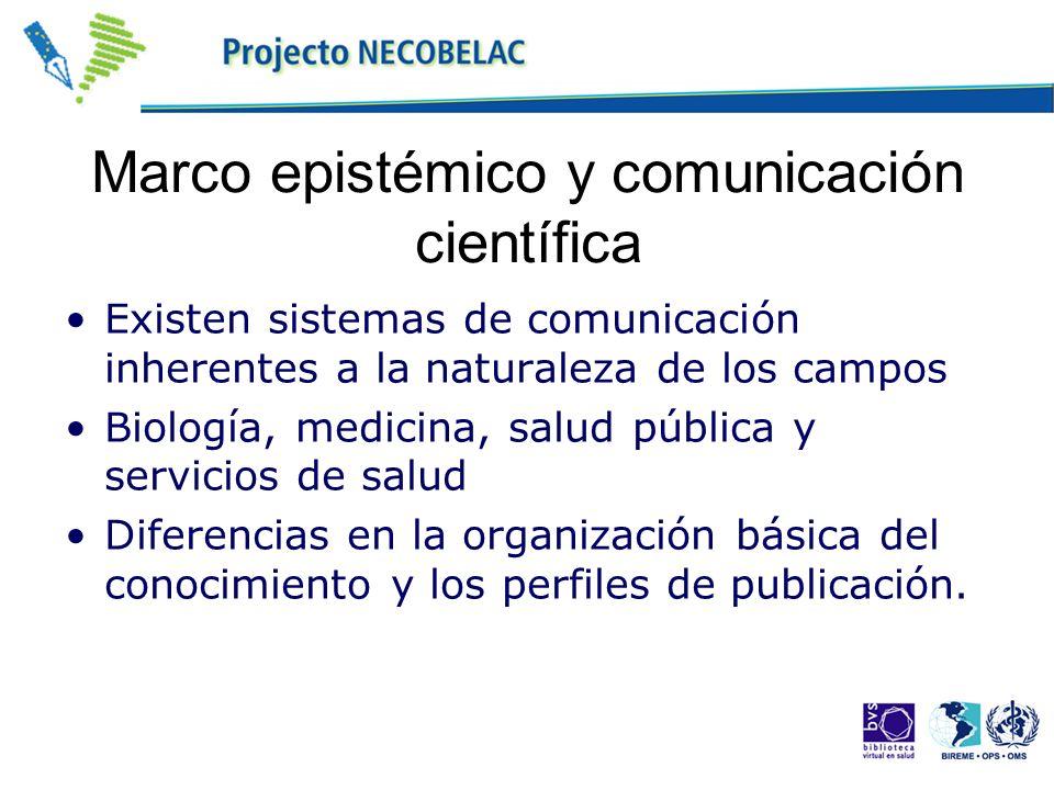 Marco epistémico y comunicación científica Existen sistemas de comunicación inherentes a la naturaleza de los campos Biología, medicina, salud pública