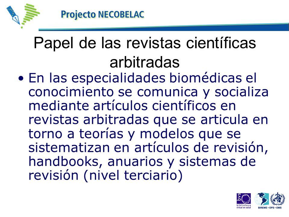 Papel de las revistas científicas arbitradas En las especialidades biomédicas el conocimiento se comunica y socializa mediante artículos científicos e