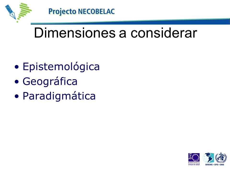Dimensiones a considerar Epistemológica Geográfica Paradigmática