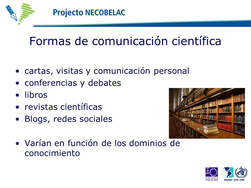 Formas de comunicación científica cartas, visitas y comunicación personal conferencias y debates libros revistas científicas Blogs, redes sociales Var