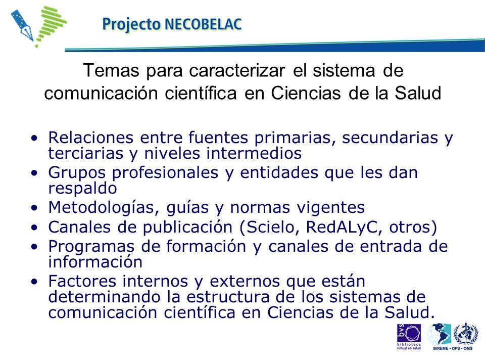 Temas para caracterizar el sistema de comunicación científica en Ciencias de la Salud Relaciones entre fuentes primarias, secundarias y terciarias y n