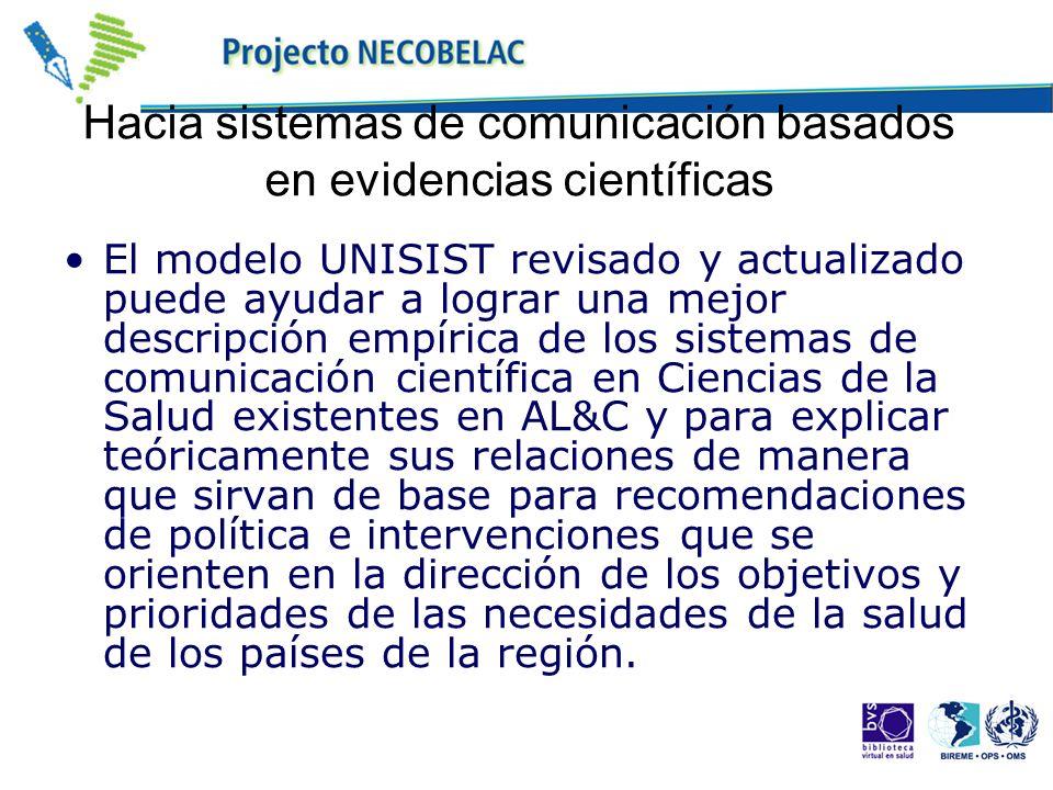 Hacia sistemas de comunicación basados en evidencias científicas El modelo UNISIST revisado y actualizado puede ayudar a lograr una mejor descripción