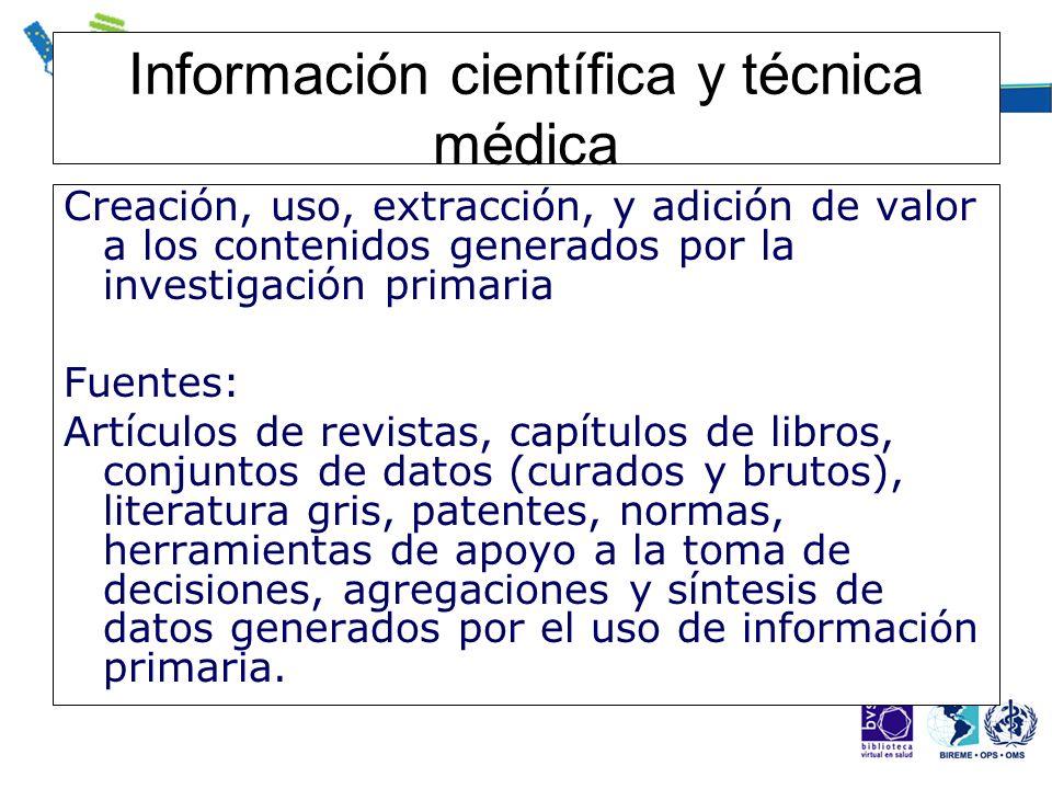 Información científica y técnica médica Creación, uso, extracción, y adición de valor a los contenidos generados por la investigación primaria Fuentes