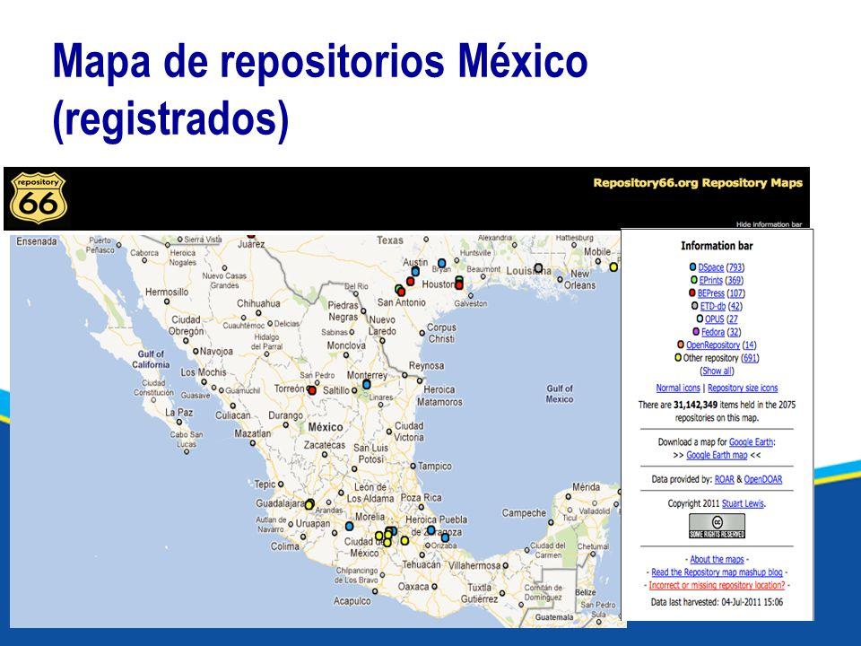 Mapa de repositorios México (registrados)
