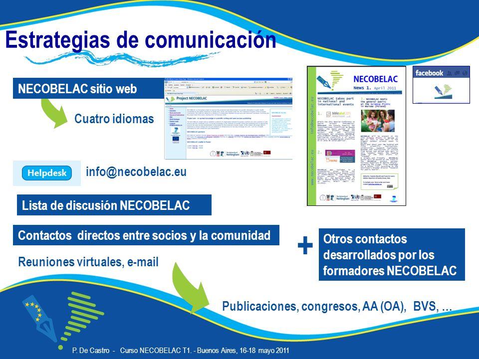 Estrategias de comunicación Cuatro idiomas NECOBELAC sitio web Lista de discusión NECOBELAC Publicaciones, congresos, AA (OA), BVS, … Contactos directos entre socios y la comunidad Reuniones virtuales, e-mail + Otros contactos desarrollados por los formadores NECOBELAC P.