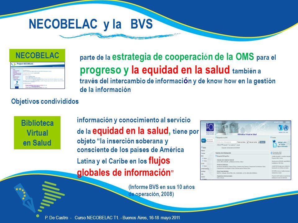 Biblioteca Virtual en Salud información y conocimiento al servicio de la equidad en la salud, tiene por objeto la inserción soberana y consciente de los países de América Latina y el Caribe en los flujos globales de información parte de la estrategia de cooperaci ó n de la OMS para el progreso y la equidad en la salud también a través del intercambio de informaci ó n y de know how en la gestión de la información NECOBELAC Objetivos condivididos NECOBELAC y la BVS (Informe BVS en sus 10 años de operación, 2008) P.