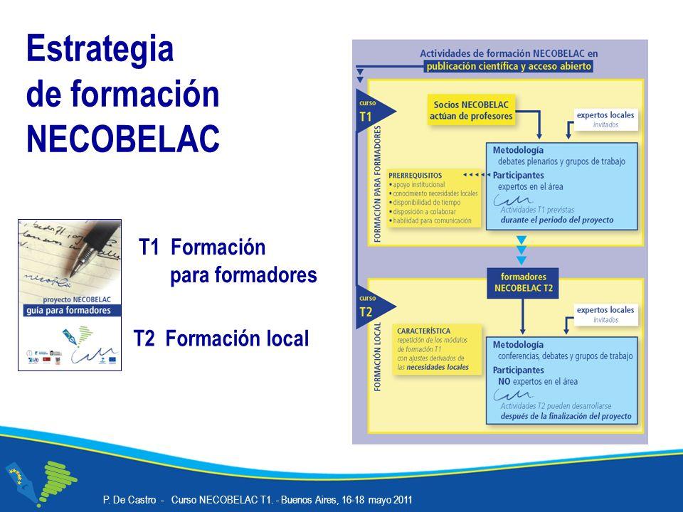 Estrategia de formación NECOBELAC T2 Formación local T1 Formación para formadores P.