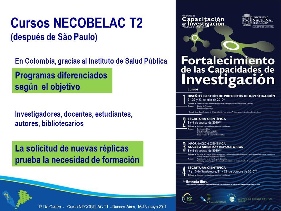 Cursos NECOBELAC T2 (después de São Paulo) Programas diferenciados según el objetivo En Colombia, gracias al Instituto de Salud Pública Investigadores, docentes, estudiantes, autores, bibliotecarios La solicitud de nuevas réplicas prueba la necesidad de formación P.