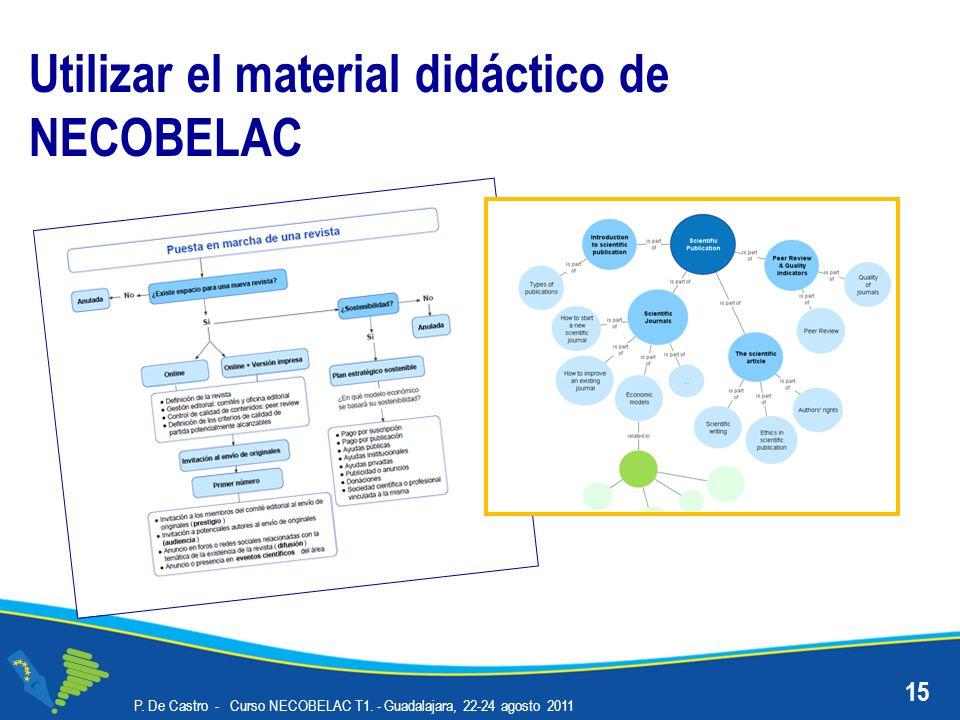 P. De Castro - Curso NECOBELAC T1. - Guadalajara, 22-24 agosto 2011 15 Utilizar el material didáctico de NECOBELAC