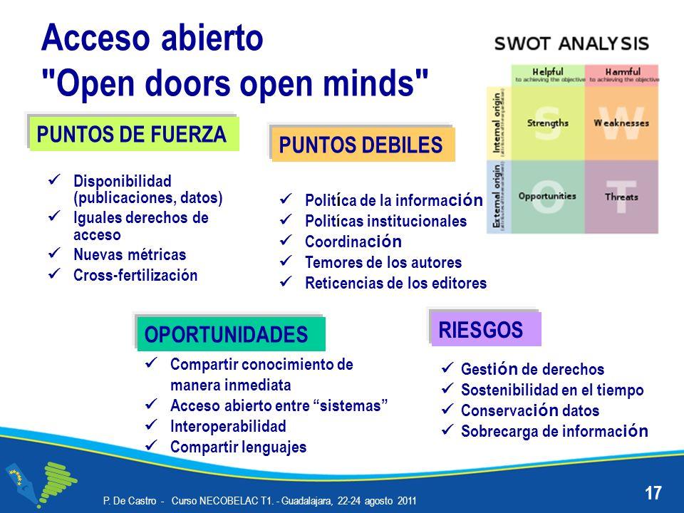 Acceso abierto Open doors open minds P. De Castro - Curso NECOBELAC T1.