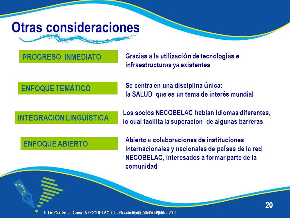 P. De Castro - Corso NECOBELAC T1. - Roma 18-20 ottobre 2010 20 Otras consideraciones PROGRESO INMEDIATO Se centra en una disciplina ú nica: la SALUD