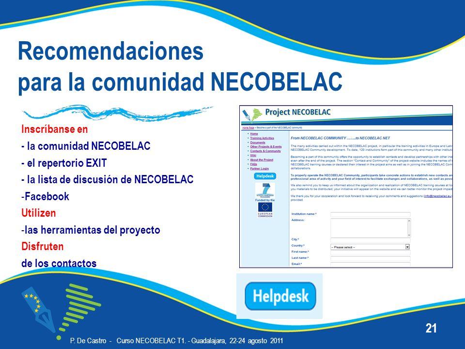 Recomendaciones para la comunidad NECOBELAC Inscríbanse en - la comunidad NECOBELAC - el repertorio EXIT - la lista de discusión de NECOBELAC - Facebo