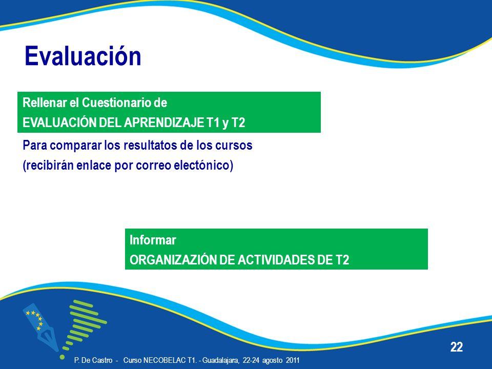 Evaluación P. De Castro - Curso NECOBELAC T1. - Guadalajara, 22-24 agosto 2011 22 Para comparar los resultatos de los cursos (recibirán enlace por cor