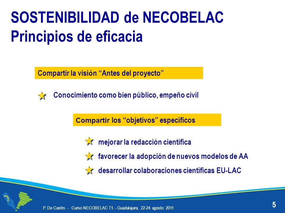 SOSTENIBILIDAD de NECOBELAC Principios de eficacia mejorar la redacción científica favorecer la adopción de nuevos modelos de AA desarrollar colaboraciones científicas EU-LAC P.