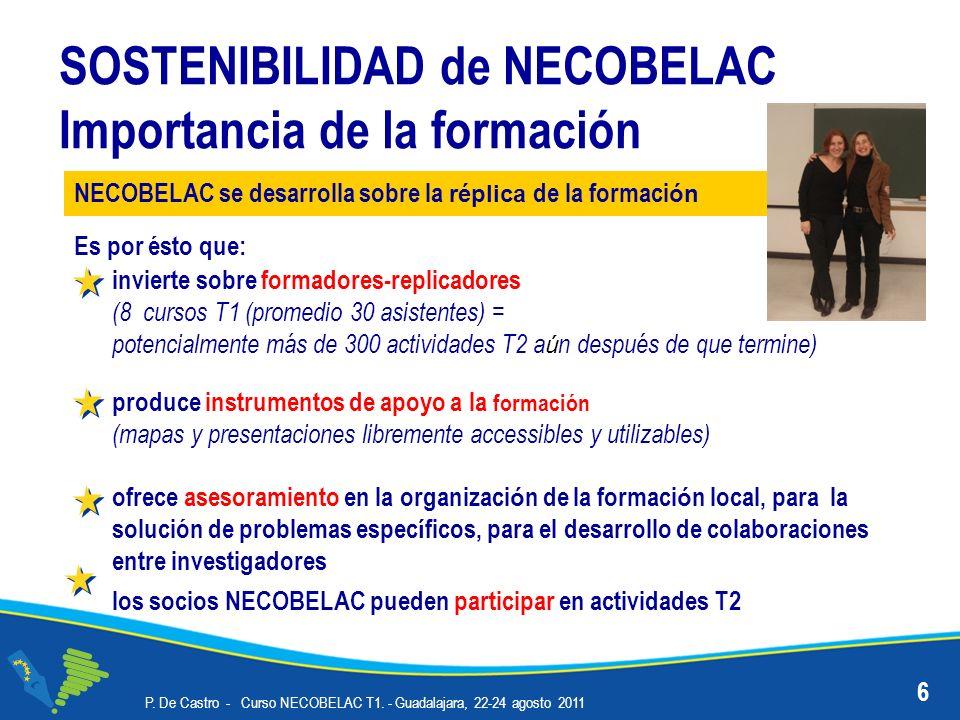P. De Castro - Curso NECOBELAC T1. - Guadalajara, 22-24 agosto 2011 6 SOSTENIBILIDAD de NECOBELAC Importancia de la formación Es por ésto que: inviert
