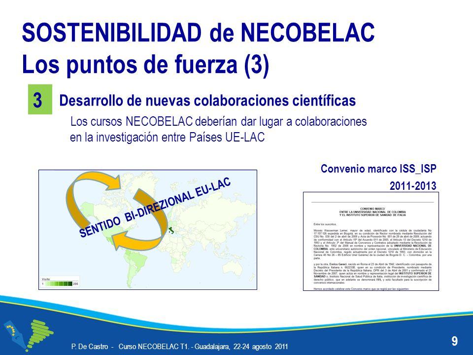 P. De Castro - Curso NECOBELAC T1. - Guadalajara, 22-24 agosto 2011 9 Desarrollo de nuevas colaboraciones científicas 3 SOSTENIBILIDAD de NECOBELAC Lo