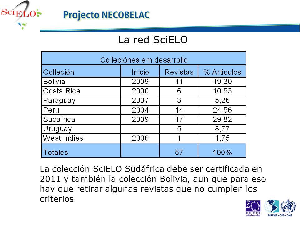 La red SciELO La colección SciELO Sudáfrica debe ser certificada en 2011 y también la colección Bolivia, aun que para eso hay que retirar algunas revi
