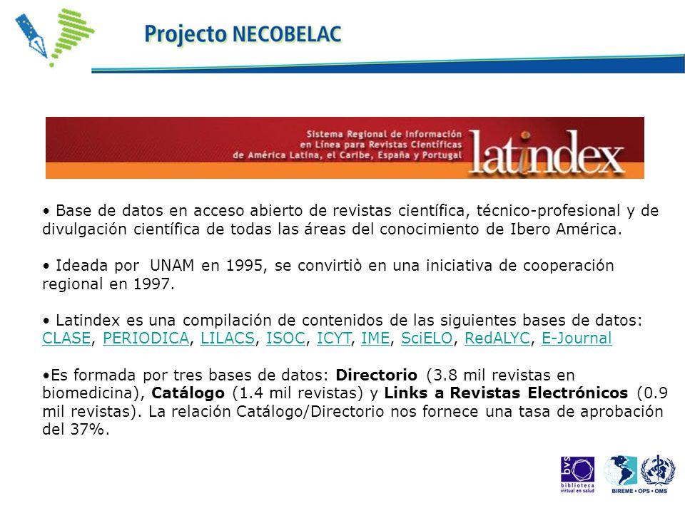 Base de datos en acceso abierto de revistas científica, técnico-profesional y de divulgación científica de todas las áreas del conocimiento de Ibero A
