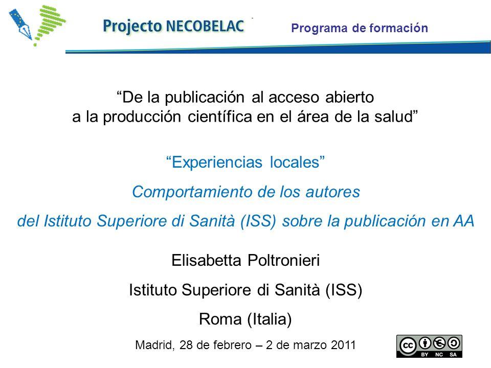Programa de formación Experiencias locales Comportamiento de los autores del Istituto Superiore di Sanità (ISS) sobre la publicación en AA Elisabetta