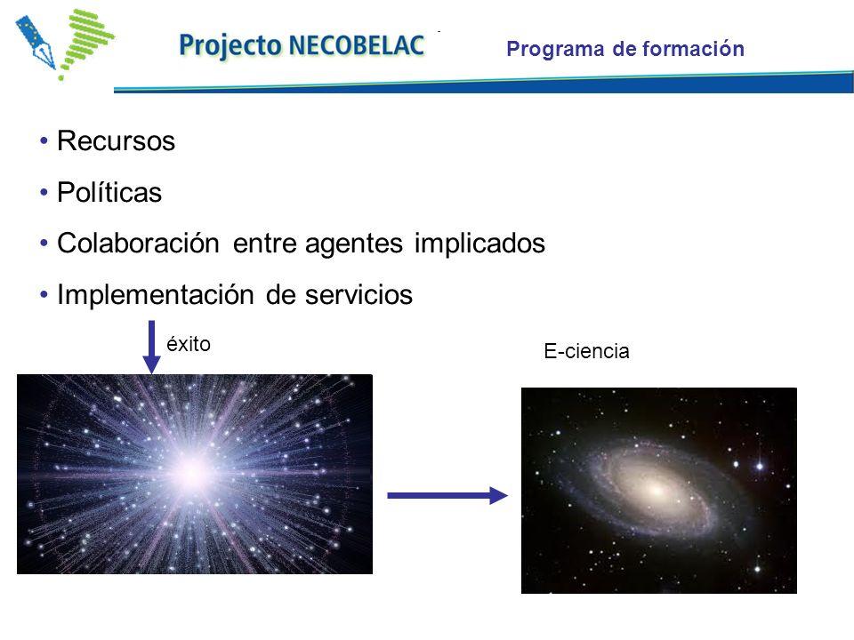 Programa de formación Recursos Políticas Colaboración entre agentes implicados Implementación de servicios éxito E-ciencia