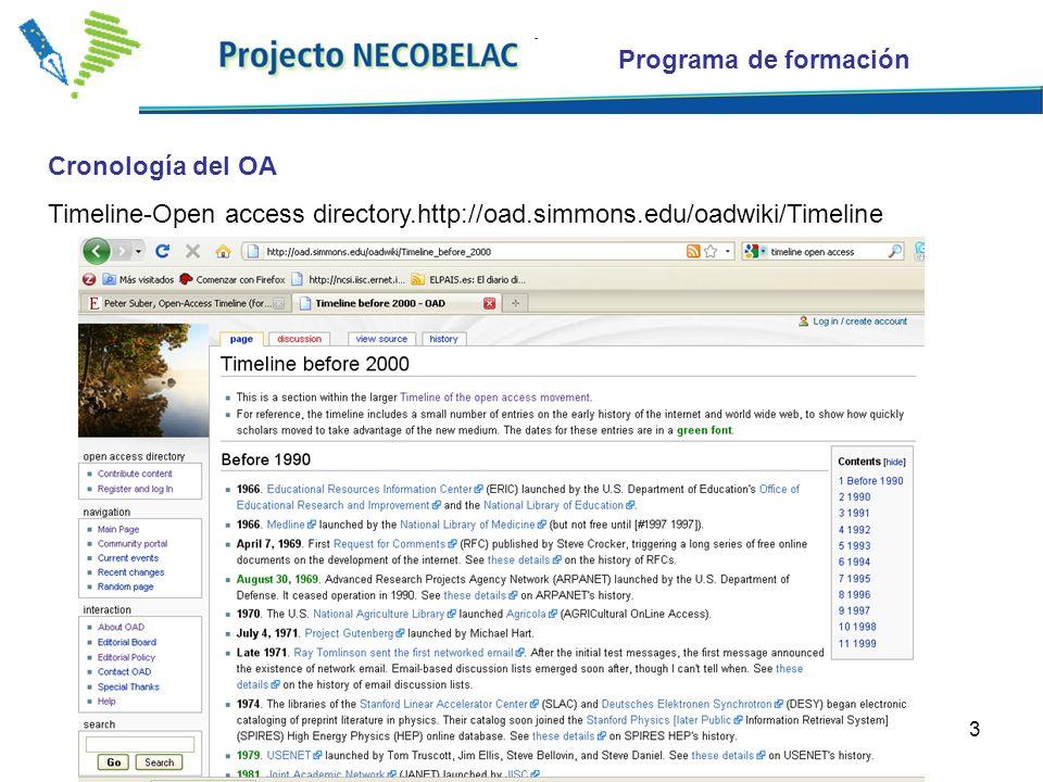 3 Cronología del OA Timeline-Open access directory.http://oad.simmons.edu/oadwiki/Timeline Programa de formación