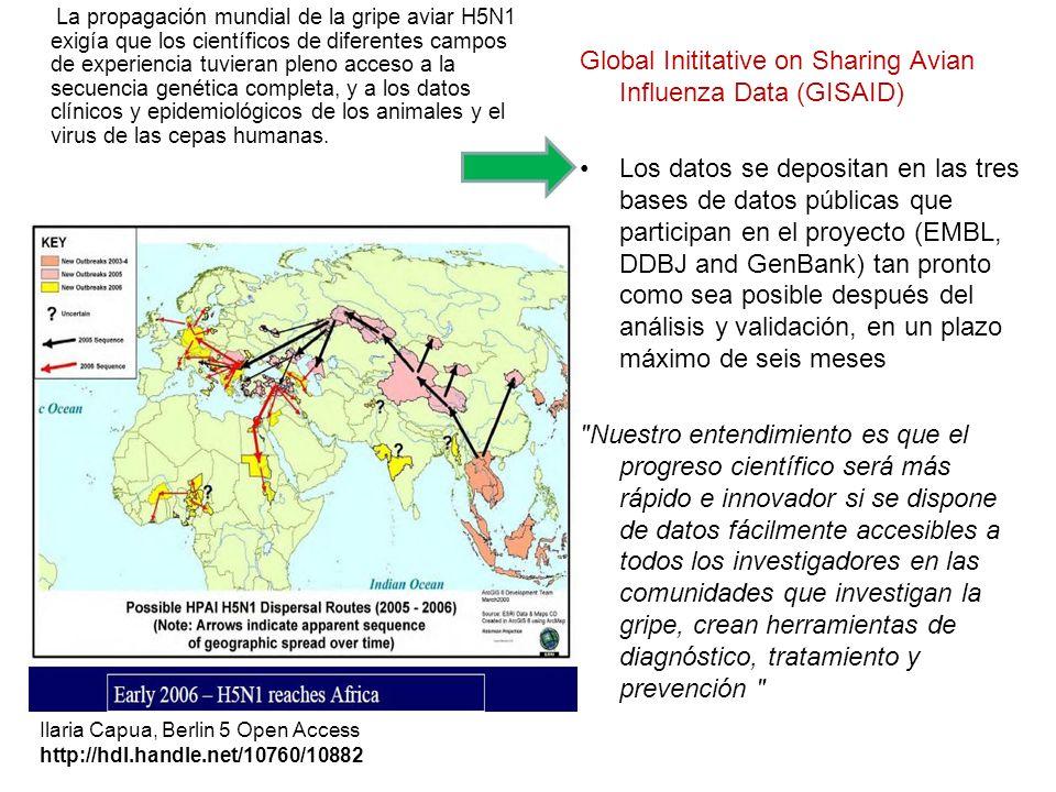 La propagación mundial de la gripe aviar H5N1 exigía que los científicos de diferentes campos de experiencia tuvieran pleno acceso a la secuencia genética completa, y a los datos clínicos y epidemiológicos de los animales y el virus de las cepas humanas.