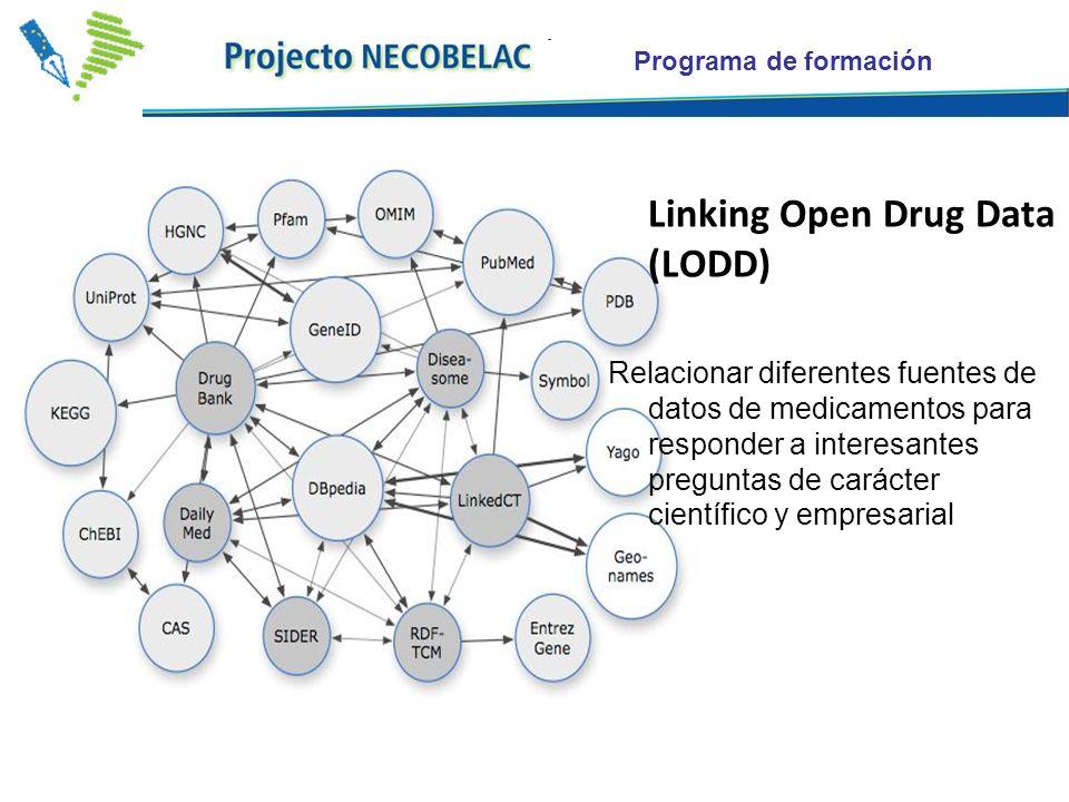 Programa de formación Linking Open Drug Data (LODD) Relacionar diferentes fuentes de datos de medicamentos para responder a interesantes preguntas de carácter científico y empresarial