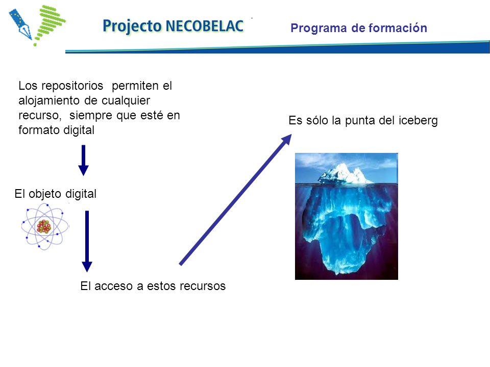 Programa de formación Es sólo la punta del iceberg Los repositorios permiten el alojamiento de cualquier recurso, siempre que esté en formato digital El acceso a estos recursos El objeto digital