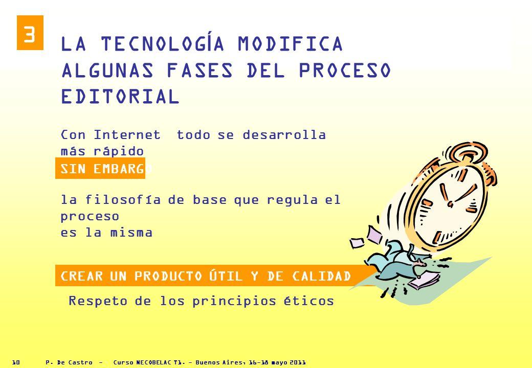 P. De Castro - Curso NECOBELAC T1. - Buenos Aires, 16-18 mayo 2011 9 HOY INTERNET permite nuevos tipos de comunicación Revistas y monografías pueden c