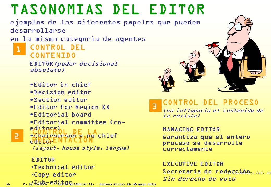P. De Castro - Curso NECOBELAC T1. - Buenos Aires, 16-18 mayo 2011 15 CADA AGENTE TIENE RESPONSABILIDAD E INTERESES DIVERSOS EN EL PROCESO Es importan
