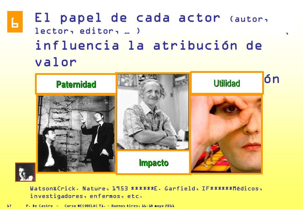 P. De Castro - Curso NECOBELAC T1. - Buenos Aires, 16-18 mayo 2011 16 TASONOMIAS DEL EDITOR ejemplos de los diferentes papeles que pueden desarrollars
