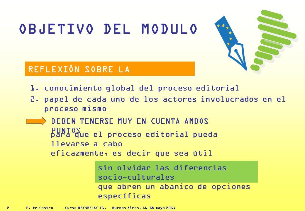 P. De Castro - Curso NECOBELAC T1. - Buenos Aires, 16-18 mayo 2011 1 LA GESTIÓN EDITORIAL DE REVISTAS: los actores del proceso y la cadena editorial P
