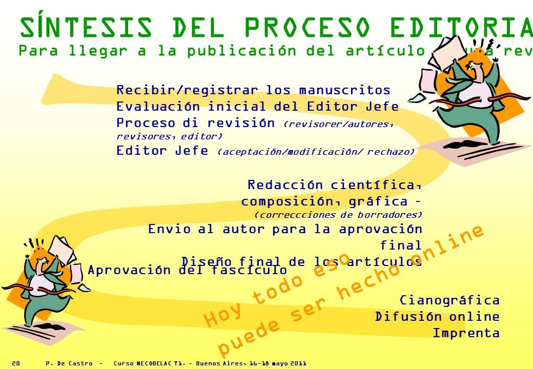 P. De Castro - Curso NECOBELAC T1. - Buenos Aires, 16-18 mayo 2011 19 7 EL PROCESO DE REDACCIÓN CIENTÍFICA DA UN VALOR AÑADIDO AL MANUSCRITO, EL PROCE