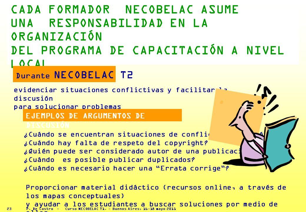 P. De Castro - Curso NECOBELAC T1. - Buenos Aires, 16-18 mayo 2011 22 DIFERENCIAS CULTURALES 9 Preguntas, Los autores operantes en instituciones de sa