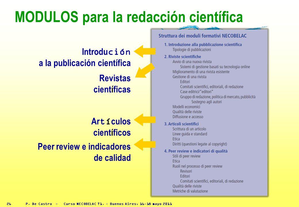 P. De Castro - Curso NECOBELAC T1. - Buenos Aires, 16-18 mayo 2011 25 Presentaciones de los cursos ya realizados Topic maps - textos - esquemas - enla