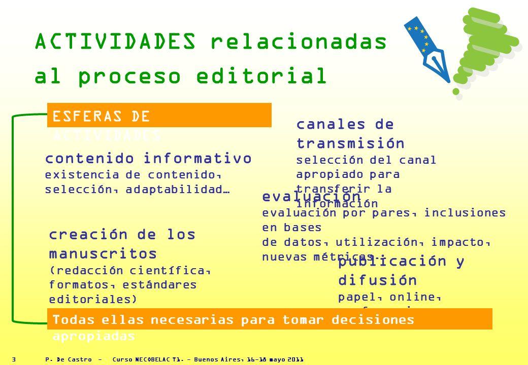 P. De Castro - Curso NECOBELAC T1. - Buenos Aires, 16-18 mayo 2011 1.conocimiento global del proceso editorial 2.papel de cada uno de los actores invo