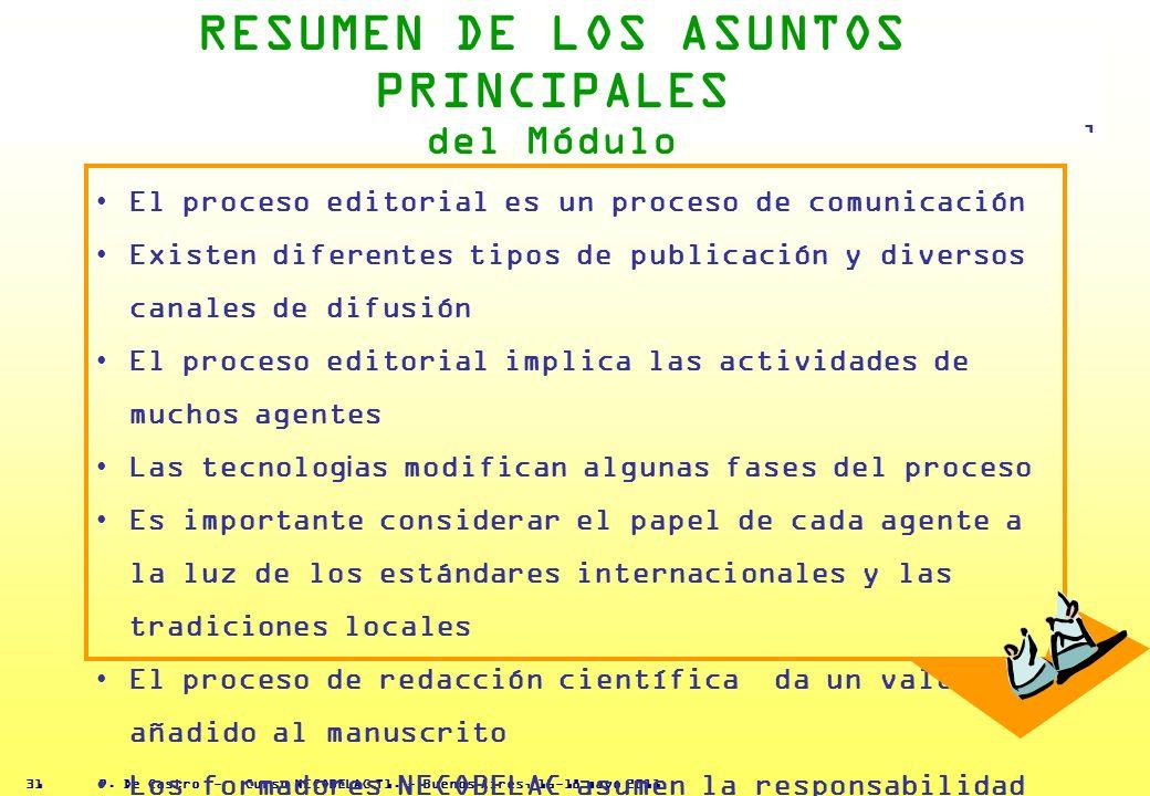 P. De Castro - Curso NECOBELAC T1. - Buenos Aires, 16-18 mayo 2011 30