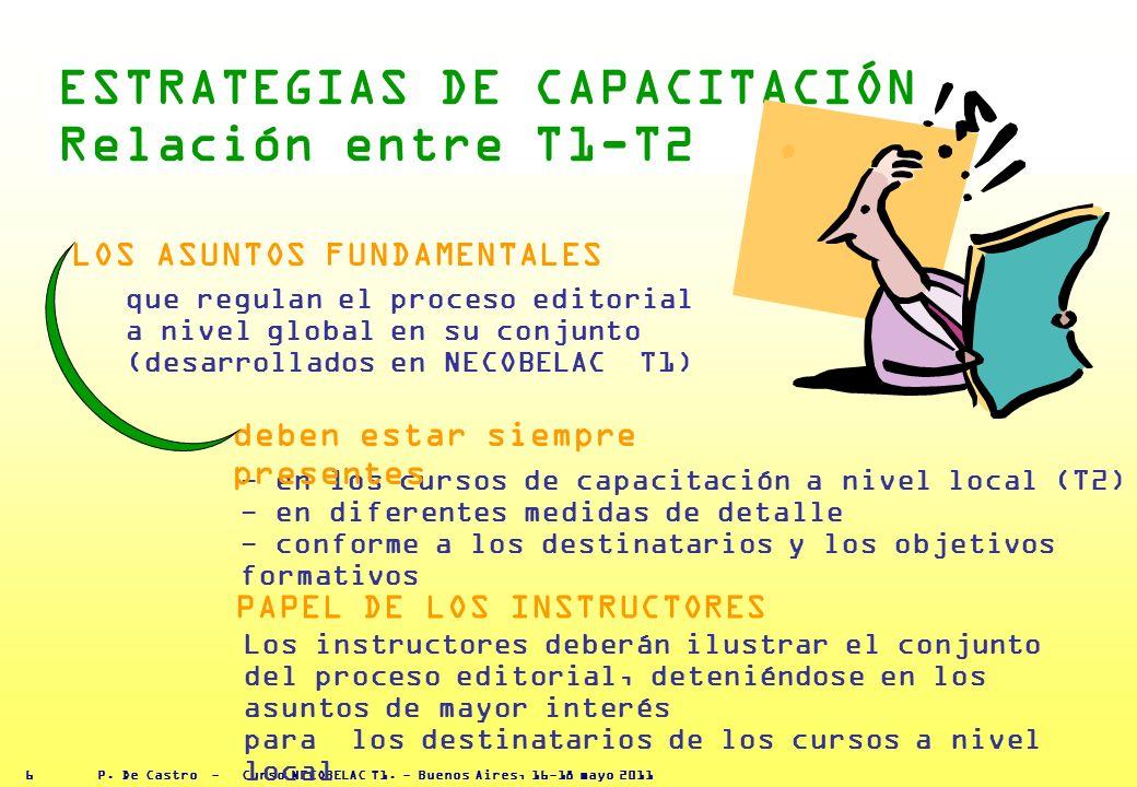 P. De Castro - Curso NECOBELAC T1. - Buenos Aires, 16-18 mayo 2011 5 Asuntos fundamentales para explicar el proceso editorial en T2 Comunicación 1 Tip