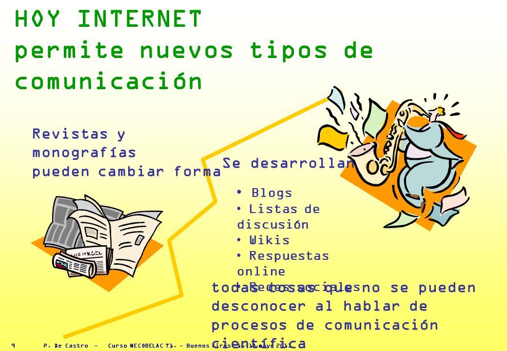 P. De Castro - Curso NECOBELAC T1. - Buenos Aires, 16-18 mayo 2011 8 EXISTEN DIFERENTES TIPOS DE PUBLICACIÓN Y DIFERENTES CANALES DE DIFUSIÓN Tradicio
