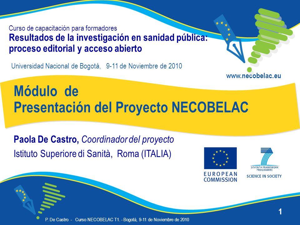 P. De Castro - Curso NECOBELAC T1. - Bogotà, 9-11 de Noviembre de 2010 1 Curso de capacitación para formadores Resultados de la investigación en sanid