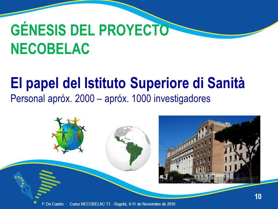 P. De Castro - Curso NECOBELAC T1. - Bogotà, 9-11 de Noviembre de 2010 10 GÉNESIS DEL PROYECTO NECOBELAC El papel del Istituto Superiore di Sanità Per