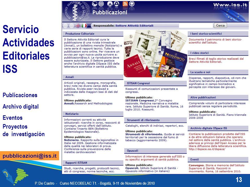 13 P. De Castro - Curso NECOBELAC T1. - Bogotà, 9-11 de Noviembre de 2010 Servicio Actividades Editoriales ISS pubblicazioni@iss.it Publicaciones Arch
