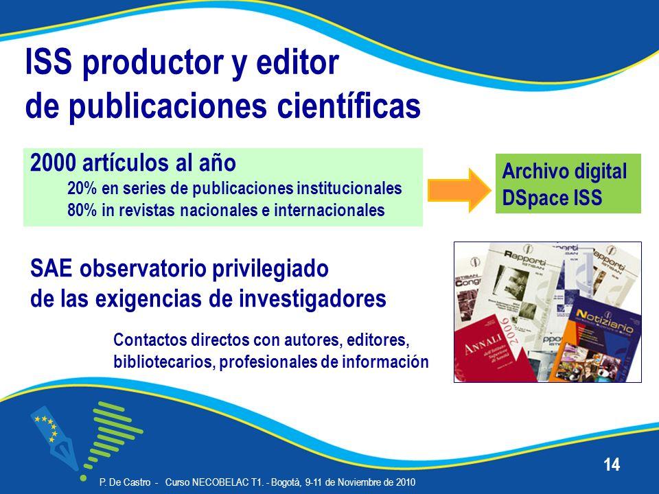 ISS productor y editor de publicaciones científicas 2000 artículos al año 20% en series de publicaciones institucionales 80% in revistas nacionales e