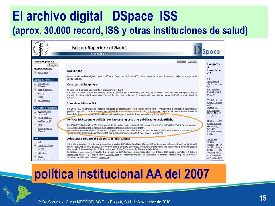 El archivo digital DSpace ISS (aprox. 30.000 record, ISS y otras instituciones de salud) política institucional AA del 2007 15 P. De Castro - Curso NE
