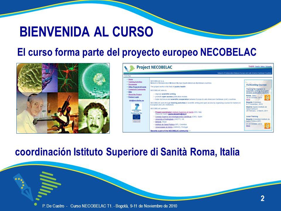 El curso forma parte del proyecto europeo NECOBELAC P. De Castro - Curso NECOBELAC T1. - Bogotà, 9-11 de Noviembre de 2010 2 coordinación Istituto Sup