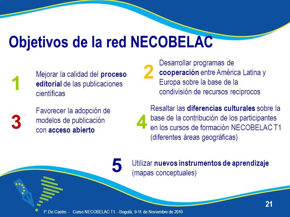 Objetivos de la red NECOBELAC P. De Castro - Curso NECOBELAC T1. - Bogotà, 9-11 de Noviembre de 2010 21 Desarrollar programas de cooperación entre Amé