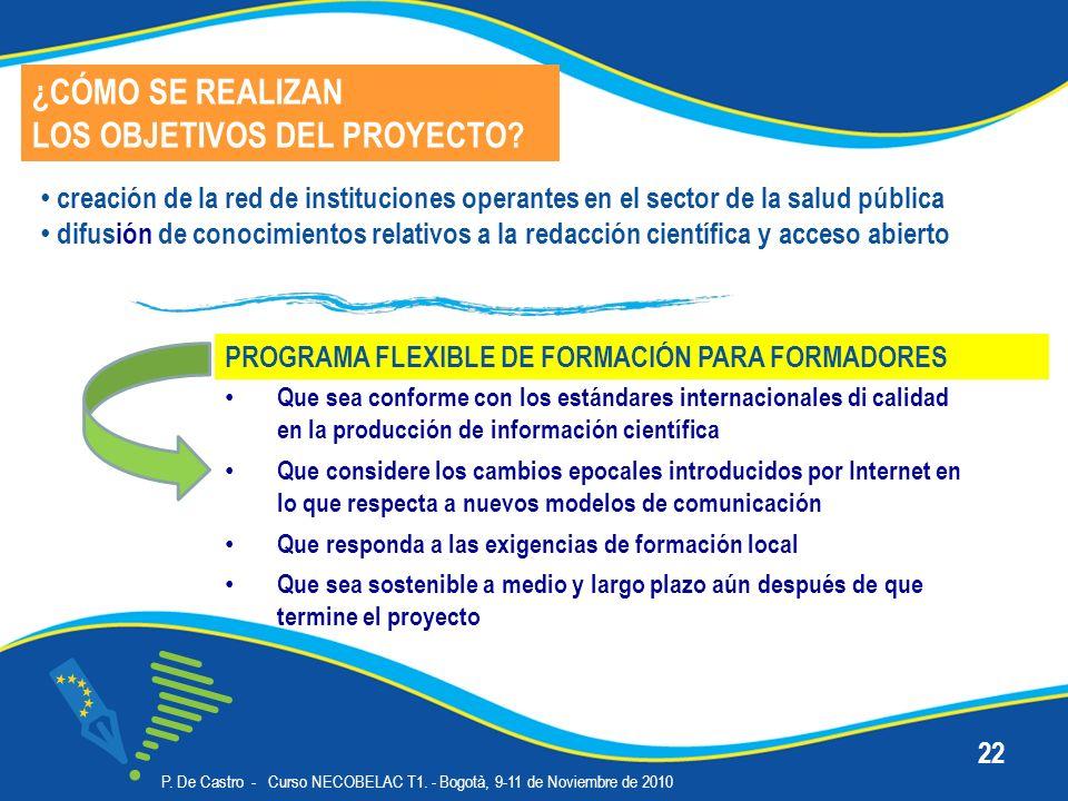 P. De Castro - Curso NECOBELAC T1. - Bogotà, 9-11 de Noviembre de 2010 22 Que sea conforme con los estándares internacionales di calidad en la producc