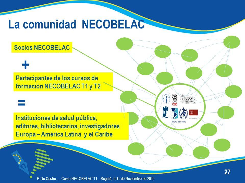 P. De Castro - Curso NECOBELAC T1. - Bogotà, 9-11 de Noviembre de 2010 27 La comunidad NECOBELAC Socios NECOBELAC Partecipantes de los cursos de forma