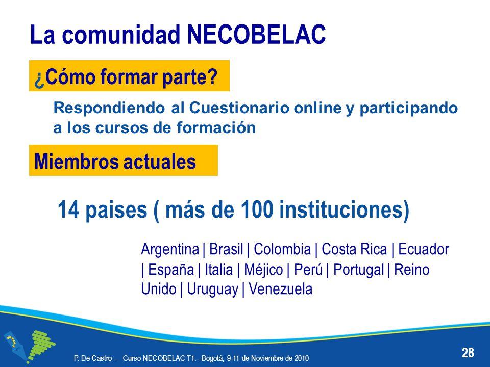 La comunidad NECOBELAC P. De Castro - Curso NECOBELAC T1. - Bogotà, 9-11 de Noviembre de 2010 28 ¿Cómo formar parte? Miembros actuales Argentina | Bra