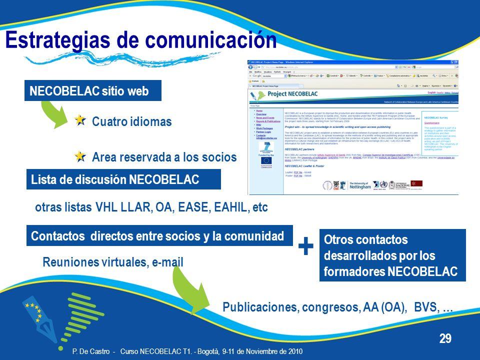 P. De Castro - Curso NECOBELAC T1. - Bogotà, 9-11 de Noviembre de 2010 29 Estrategias de comunicación Cuatro idiomas NECOBELAC sitio web Lista de disc